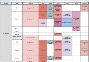 Excel calendário de conteúdos
